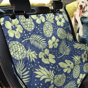 Tan Hibiscus Pineapple Dots On Blue Car Back Seat Cover Dog Car Seat Covers