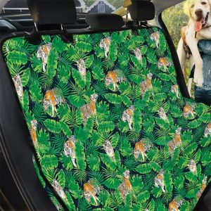 Tropical Tigers Hide On Green Leaves Design Car Back Seat Cover Dog Car Seat Covers