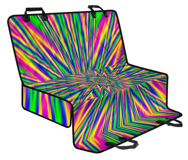 Vibrant Psychedelic Optical Illusion Pet Car Back Seat Cover
