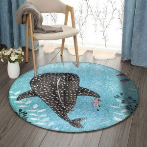 Whale And Girl Gs-cl-ld1806 Round Carpet Floor Rug Sport Decor Gift Floor Decor Living Room Carpet Rug Area RugBig Sale Round Rug 301962