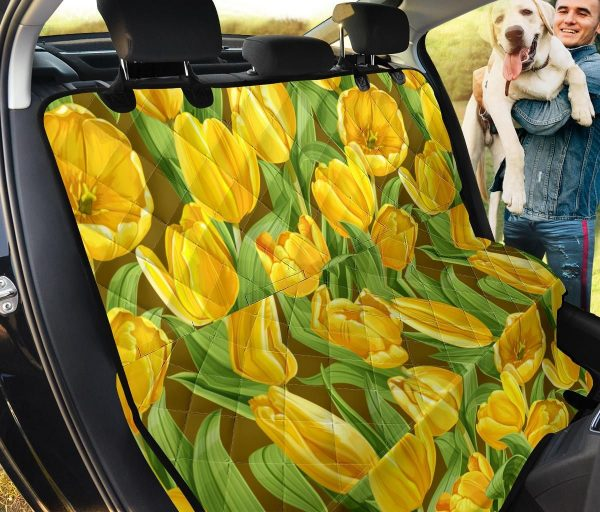 Yellow Blooming Tulip Design Car Back Seat Cover Dog Car Seat Covers