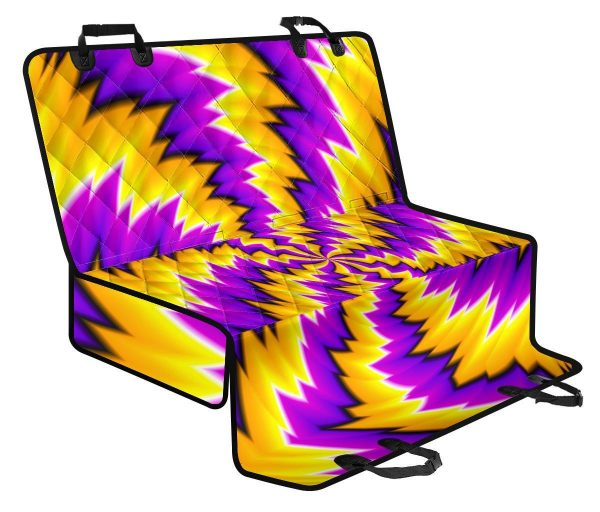 Yellow Vortex Moving Optical Illusion Pet Car Back Seat Cover